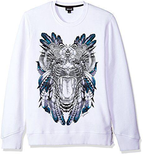 Just Cavalli Men's Graphic Sweatshirt, White, XS