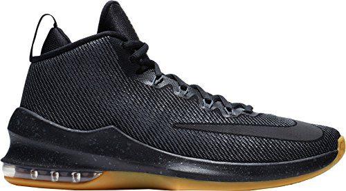 NIKE Men's Air Max Infuriate Mid Premium Basketball Shoes (Black/Grey, 10.5 D(M) US)