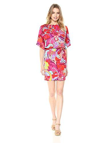 Trina Trina Turk Women's Bernice Split Sleeve Tie Waist Dress, Coral Lily, Medium