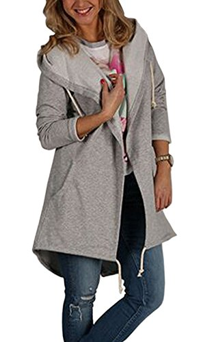 Relipop Women's Casual Cardigan Open Front Long Sleeve Lightweight Sweatshirt Jacket Coat with Pocket (Medium, Gray)