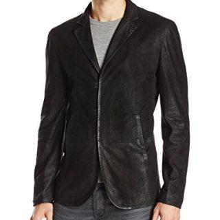 John Varvatos Collection Men's Slim Fit Leather Blazer Jacket, Black,50