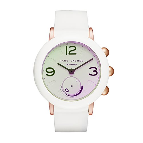 Marc Jacobs Women's 'Riley Hybrid' Quartz Stainless Steel and Rubber Smart Watch, Color White
