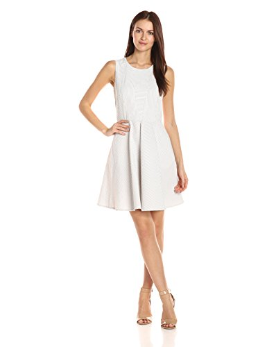 A|X Armani Exchange Women's Crew Neck Sleeveless Seersucker Fit and Flare Dress, Tan Stripe, 8