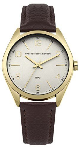 French Connection Women's Quartz Metal and Leather Casual Watch, Color:Brown (Model: FC1304TG)