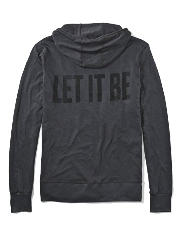 John Varvatos Men's Let IT BE Graphic Zip Front Hoodie, Coal, Extra Large