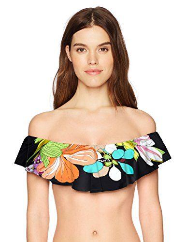 Trina Turk Women's Off Shoulder Ruffle Bandeau Bikini Swimsuit Top, Black/Boquet Floral Print, 10