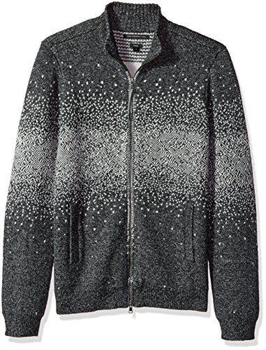 John Varvatos Men's Zip-Front Sweater, Thunder Grey, Extra Large