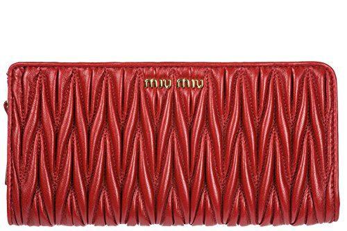 Miu Miu women's wallet leather coin case holder purse card bifold metelasse red