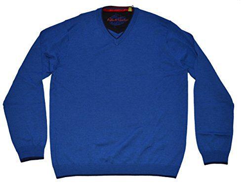 Robert Graham Men's Grammercy Long Sleeve 100% Wool V Neck Pullover Sweater (Large, Ocean Blue)