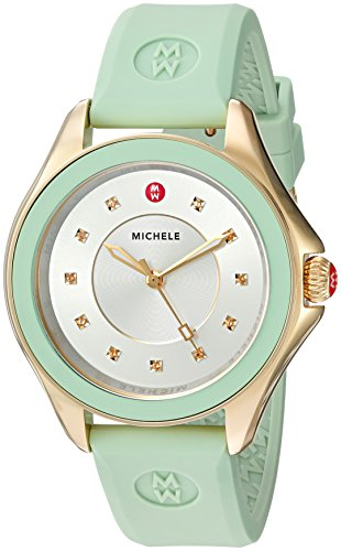 MICHELE Women's 'Cape' Quartz Stainless Steel and Silicone Dress Watch, Color Green