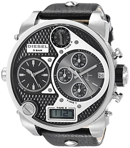 Diesel Men's Black SBA Oversized Dual-Display Stainless Steel Watch