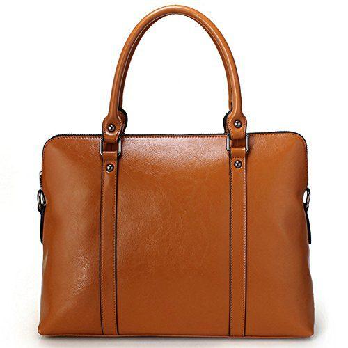 G-AVERIL Genuine Cow Leather Tote Bag Vintage Large Handbag for Women Brown