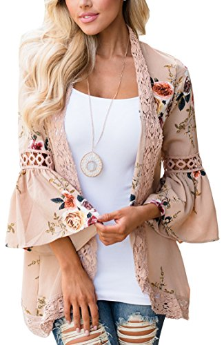Hibluco Women's Casual Flare Sleeve Lace Hem Floral Cardigan (Small, Khaki)