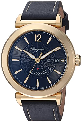Salvatore Ferragamo Men's 'FERONI' Swiss Quartz Stainless Steel and Leather Casual Watch, Color Blue
