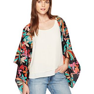 Trina Turk Women's Exquisite Papillion Palm Shrug Jacket, Black, XS/S