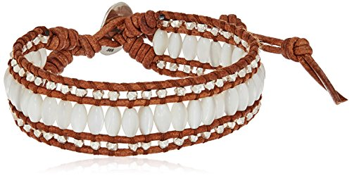 Chan Luu Single Bracelet with White MOP/Nat Brown Stones Bracelet