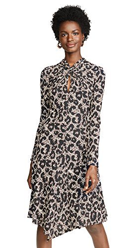 Roberto Cavalli Women's Knit Leopard Dress, Black/Dark Camel, 40