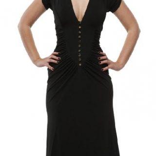 Roberto Cavalli - Button Down Pleated Dress Black, 40, Black