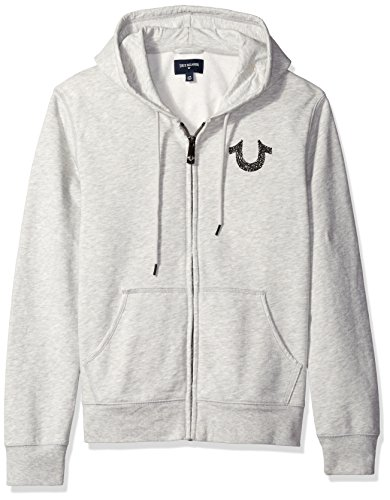 True Religion Men's Shoestring Horseshoe Hoodie Grey, Heather Grey, S