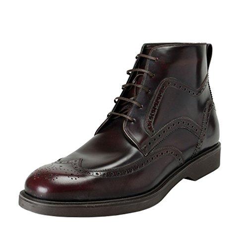 Salvatore Ferragamo Men's Gaiano Burgundy Leather Ankle Boots Shoes US 10.5EEE IT 9.5EEE EU 43.5EEE