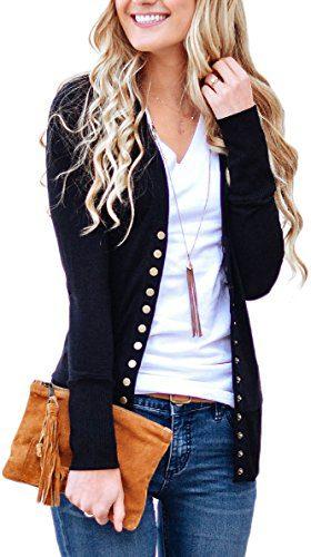 NENONA Women's V-Neck Button Down Knitwear Long Sleeve Soft Basic Knit Snap Cardigan Sweater(Black-M)