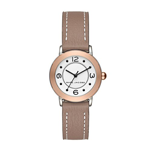 Marc Jacobs Women's 'Riley' Quartz Stainless Steel and Leather Casual Watch, Color Grey