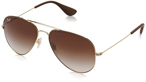 Ray-Ban Unisex Aviator Metal Sunglasses, Gold, 58 mm