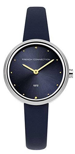 French Connection Women's Quartz Metal and Leather Casual Watch, Color:Blue