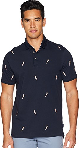Ted Baker Men's Scraffy Short Sleeve Cockatoo Embroidered Polo Navy 4