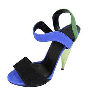 Gucci Women's Black/Green/Blue Suede Colorblock Liberty Platform Sandals 347558 (G 36.5/US 6.5)