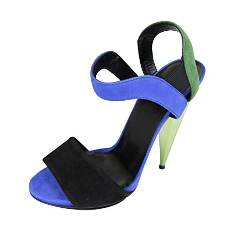 Gucci Women's Black/Green/Blue Suede Colorblock Liberty Platform Sandals 347558 (G 36.5/US 6.5)