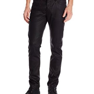 John Varvatos Collection Men's Skinny Fit Jeans with JV Logo, Black, 34 Regular