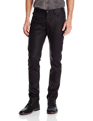 John Varvatos Collection Men's Skinny Fit Jeans with JV Logo, Black, 34 Regular