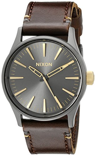 Nixon Sentry 38 Leather. Gunmetal and Gold Men's Watch (38mm. Gunmetal/Gold Watch Face. 21mm Leather Band)