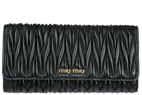 Miu Miu women's wallet leather coin case holder purse card bifold metelasse blac