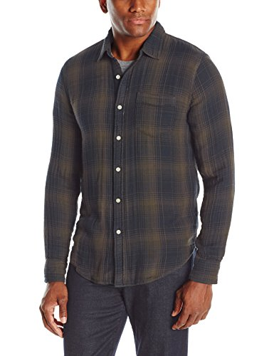 Joe's Jeans Men's Double Woven Plaid Pigment Shirt, Indigo/Charcoal, S
