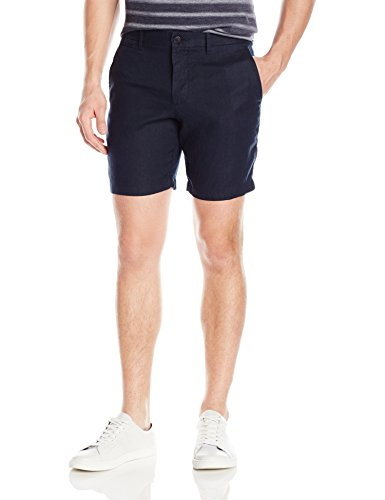 Original Penguin Men's 8 inch Washed Linen Short Slim, Dark Sapphire, 34