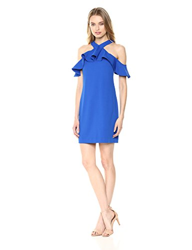 Trina Trina Turk Women's Jurnee Ruffle Cold Shoulder Dress, Blue, 2
