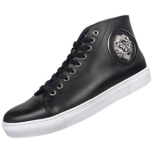 Versace Versus Leather High Top Black/White Sole Trainer 11