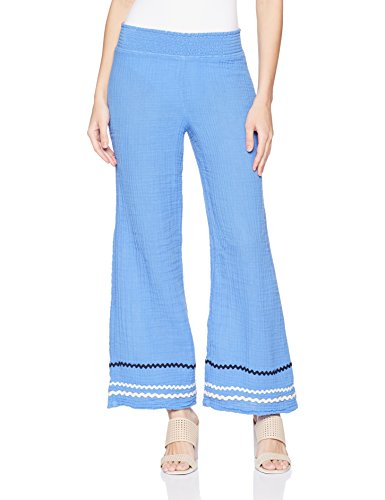 Michael Stars Women's RIC Rac Double Gauze Smocked Wide Leg Pant, Salt Water, S