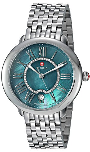 Michele Women's 'Serein Mid' Swiss Quartz Stainless Steel Casual Watch, Color:Silver-Toned