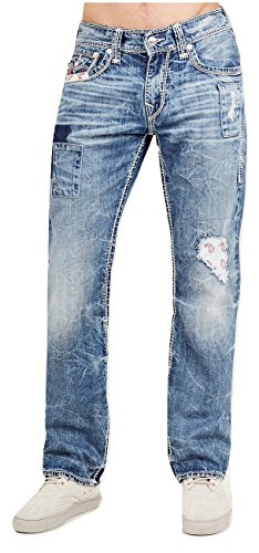 True Religion Men's Straight Leg Relaxed Fit Mega T Jeans w/Flap & Bandana Patches in Desperado Ride (36)