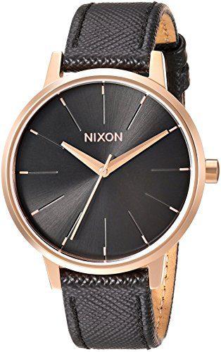 Nixon Women's 'Kensington' Quartz Metal and Leather Watch, Color Black