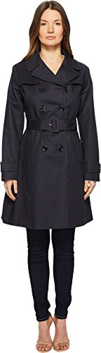 "Kate Spade New York Womens 38"" Double Breasted Trench Coat w/Tie Waist Navy XL One Size"