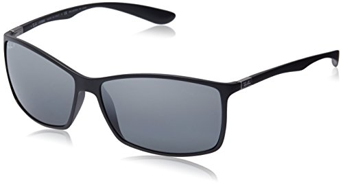Ray-Ban Polarized Rectangular Sunglasses, Matte Black/Polar Grey Mirror Silver Gradient, 62 mm