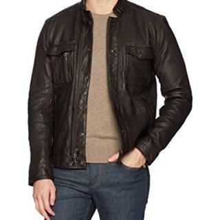 John Varvatos Men's Leather Field Jacket, Dark Brown, Extra Large