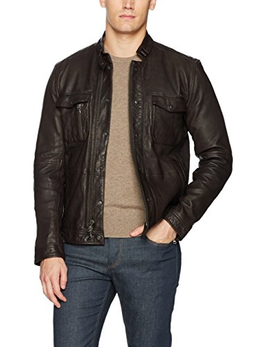John Varvatos Men's Leather Field Jacket, Dark Brown, Extra Large