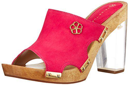 Trina Turk Women's Palm Spring Lucite Platform Sandal, Vivid Pink Suede, 9.5 M US