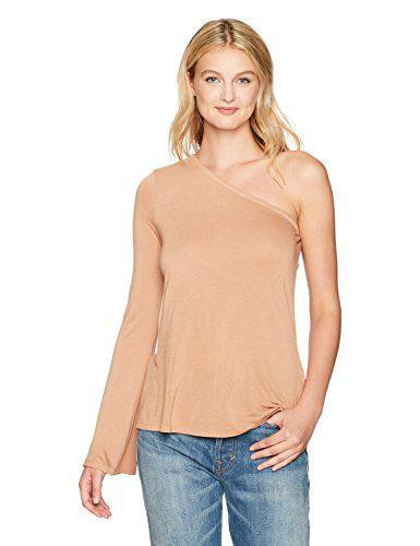 Enza Costa Women's Silk Jersey Long Sleeve One Shoulder, Camel, XS