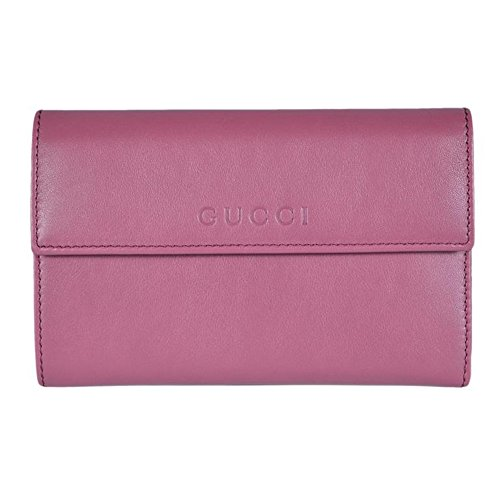 Gucci Women's Leather French Flap Wallet Dark Rose Pink